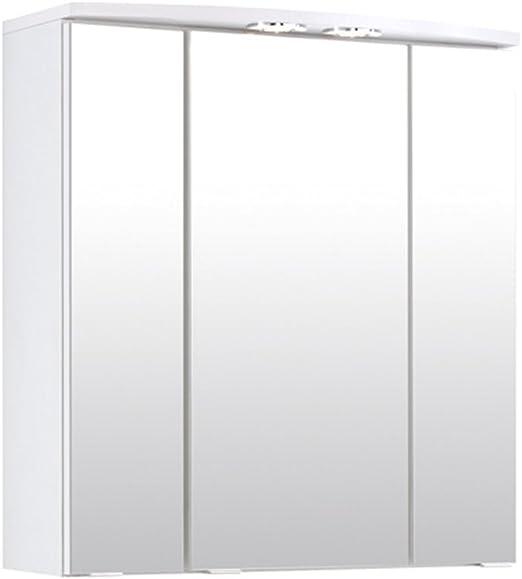Lifestyle4living Bad Spiegelschrank In Weiss 3 Turen Led Beleuchtung Steckdose Badezimmerschrank Mit Spiegel 60 Cm Breit 64 Cm Hoch 20 Cm Tief Amazon De Kuche Haushalt