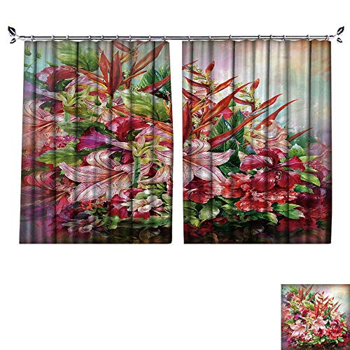 DESPKON Shading Polyester Material Bouquet of Multicolored Flowers Watercolor Painting Style.Digital Painting for Room Decoration W84 x L96