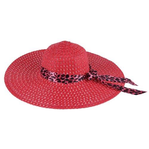 JTC Big Straw Hats Wide Brim Leopard Ribbon 12 Colors (Red)