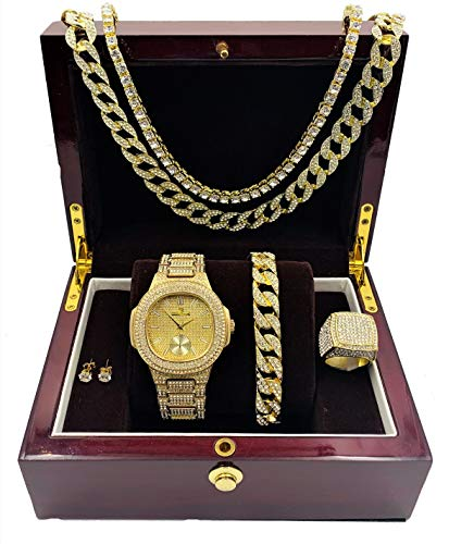 14k Gold Plated Bling-ed Out Oblong Case Metal Mens Watch w/Matching Cuban Chain Bracelet, Cuban Necklace, Tennis Chain & Ring Size 8-8475CRNTG(8)