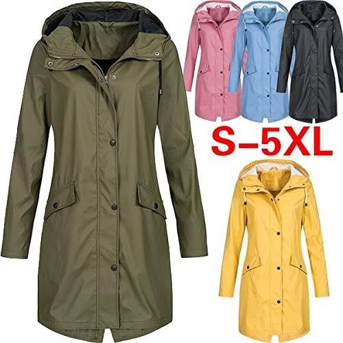 maledery Women's Raincoat Jacket Coat Transition Jacket Sunset Long Autumn and Winter Rain - Black Tall Jackets Transition