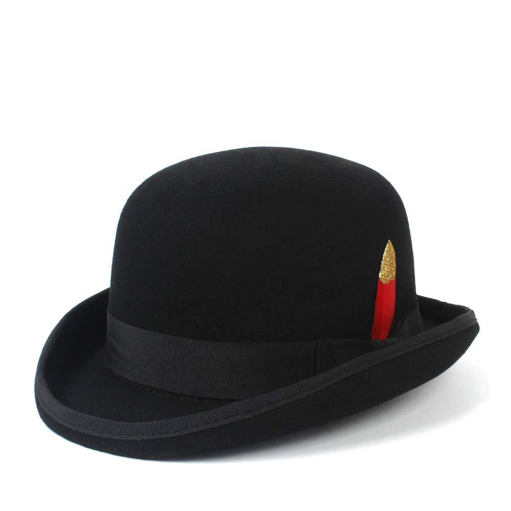 LL Mens Wool Jazz Hat Dome Floppy Brim Fedora Hat Black Grey Vintage Dress Casual Male Winter Warm Bowler Hat Cap