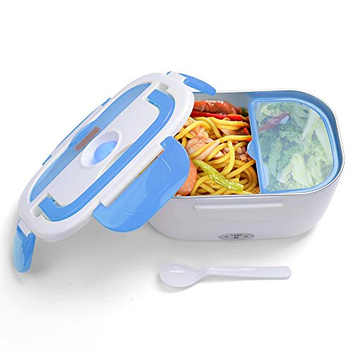 Yescom 1.5L Portable Electric Heating Lunch Box Food Storage Warmer w/ Stain Steel & PP Removable Container Blue