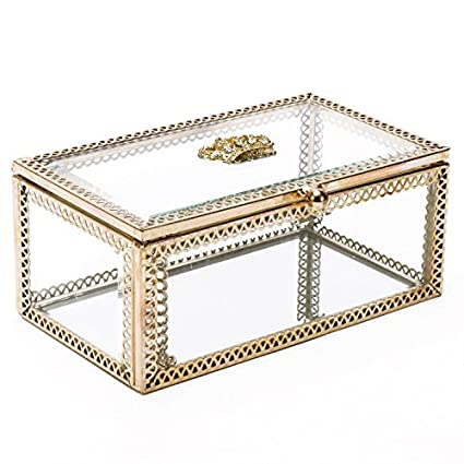 Hersoo Decorative Box Accent Trinket Case Clear Table Top Glass Lid Jewelry Display Vanity Organizer for Ring/Necklace Showcase/Keepsake Box DesignD