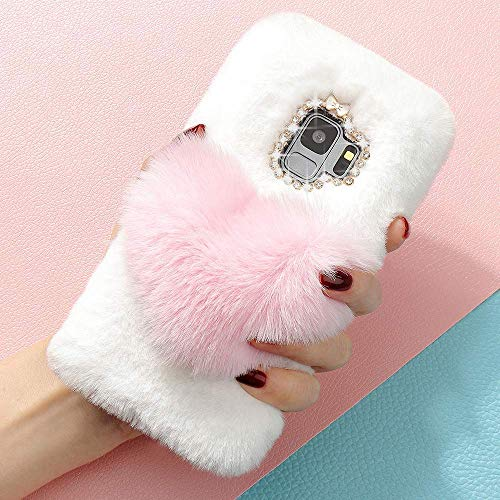 (for Samsung Galaxy Note 9 Case LAPOPNUT Girls Luxury Faux Fur Case Cute Soft Cover Fluffy Furry Love Heart Back Case with Bowknot Bling Diamond Protective Bumper Cover, Pink)
