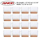 Furniture Floor Protectors Silicone Chair Leg Caps with Felt Pads, 16 PCs Fit Rectangular L: 1-7/16'' to1-11/16 W: 11/16'' to 7/8''