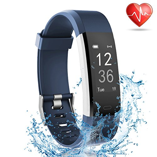 Fitness Tracker with Heart Rate Monitor, Lattie Smart Watch Activity Tracker Pedometer Sports Bracelet with Sleep Monitor Step Calorie Counter Wristband for Android and iOS Smartphone (Blue)