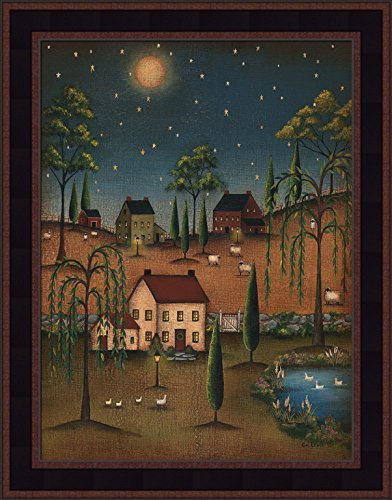 Primitive Framed Art (Village Full Moon by Kim Lewis 15x19 Saltbox Houses Willow Trees Night Stars Primitive Folk Art Print Wall Décor Framed Picture)