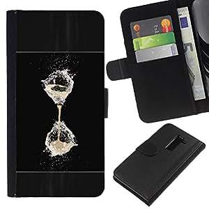 KLONGSHOP // Tirón de la caja Cartera de cuero con ranuras para tarjetas - Agua Refrescante Negro reloj de arena globo blanco - LG G2 D800 //