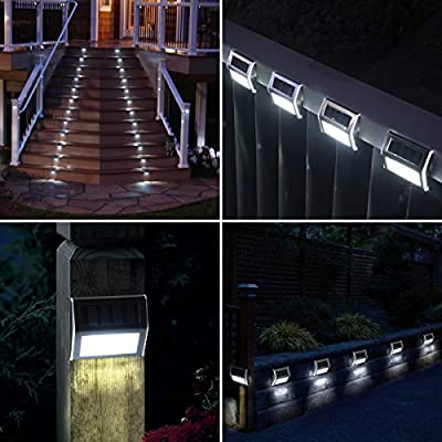 GIGALUMI 6 Pack Solar Deck Lights,3 LED Solar Stair Lights Outdoor LED Step Lighting Stainless Steel Waterproof Led Solar Lights for Step,Stairs,Pathway,Walkway,Garden-(Cold White): Home Improvement