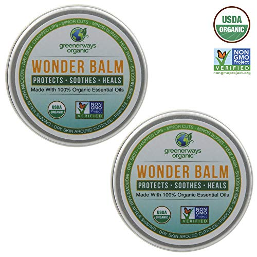 Greenerways Organic Wonder-Balm, All Natural Balm for Moisturizing, Soothing & Healing, Dry Skin, Chapped Lips, Rashes, and Burns, Non-GMO USDA Organic Essential Oil Ointment