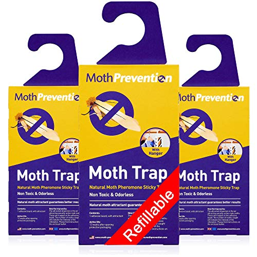 MothPrevention Powerful Moth Traps for Clothes Closets Moths   Refillable Clothes Moth Trap   3-Pack   Odor-Free…