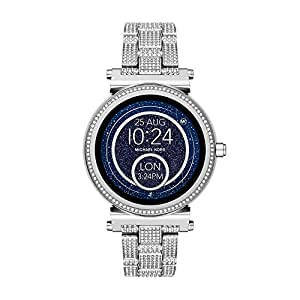 Michael Kors Women's Digital Watch smart Display and Stainless Steel Strap, MKT5024