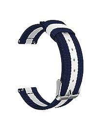 Universal 20mm Quick Release Watch Band, MoKo Fine Woven Nylon Adjustable Replacement Strap for Samsung Gear S2 Classic/Motorola Moto 360 2nd Gen Men's 42mm/Ticwatch 2nd & Huawei Watch 2, Blue & White