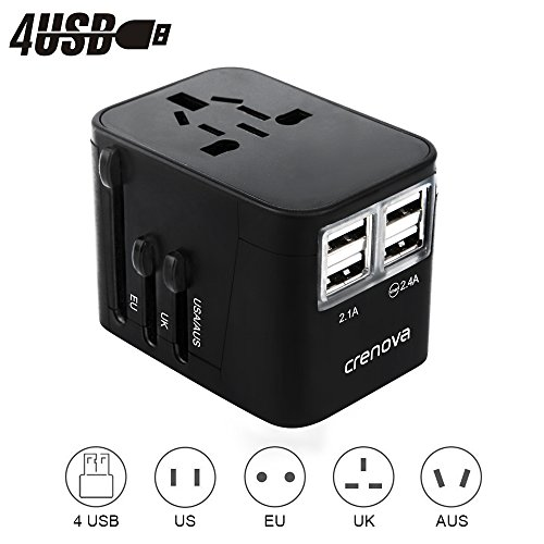 Crenova Travel Adapter with 4 USB Ports 100V-240V Voltage 1 AC Outlet for US, AU, Asia, Europe, UK, JP, China Plug Adapter/Wall Charger/Power Converter Compatible Worldwide Over 150 Countries(Black) South America Brazil