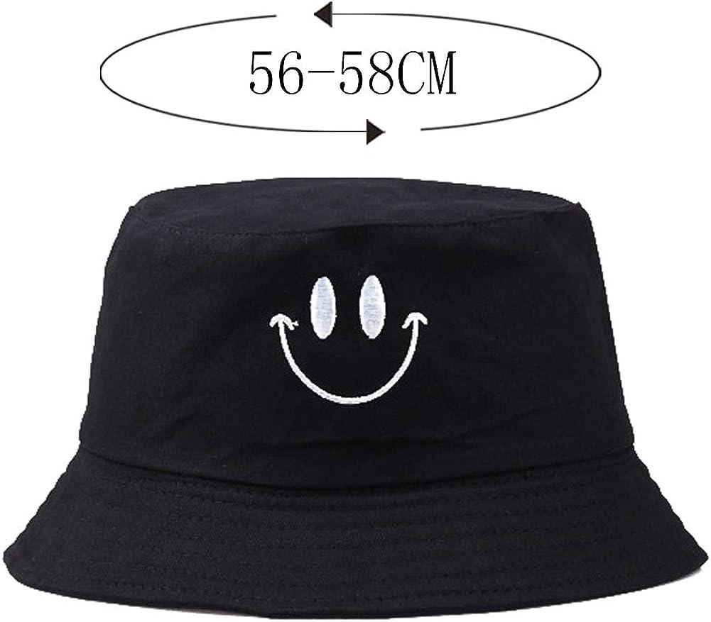 doppelseitig Fischerhut Sommerhut Obstdruck faltbar Unique Smiley bestickter Fischerhut Unisex schwarz