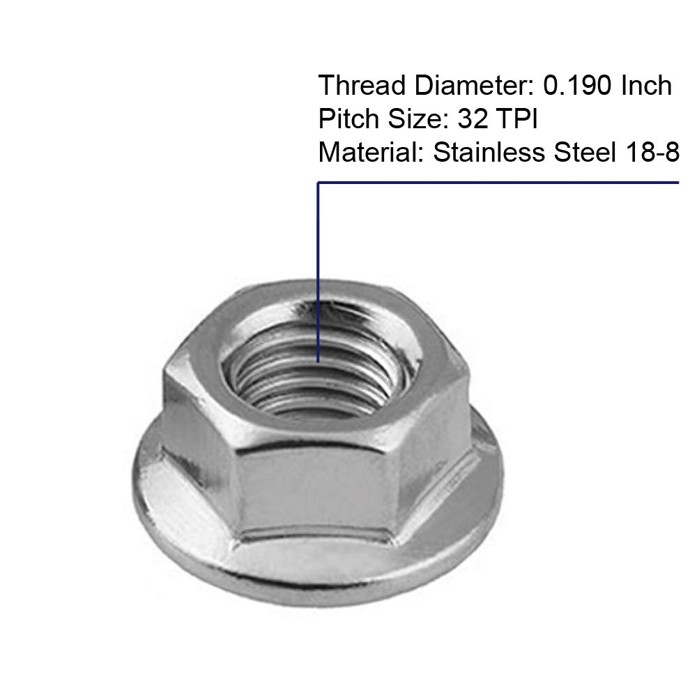 50 PCS Bright Finish 1//4-20 Serrated Flange Hex Lock Nuts Stainless Steel 304
