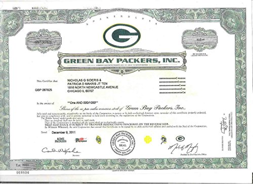 (2011 GREEN BAY PACKERS COMMON STOCK STOCK CERTIFICATE COPY RARE IN GREAT SHAPE! 100th ANNIVERSARY)