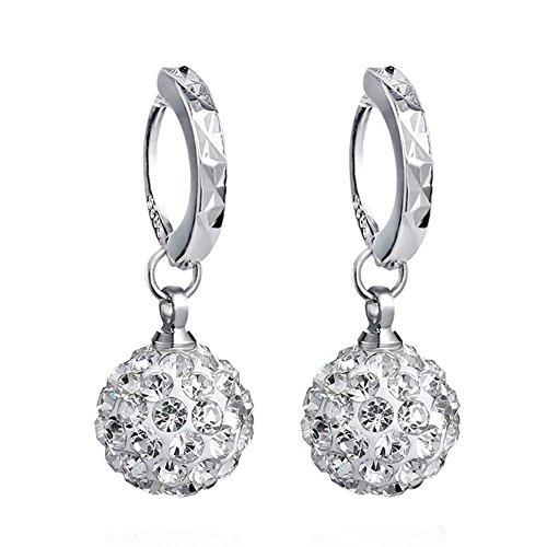YIJUE Hoop Dangle Earrings, Ball Huggie Earrings for Women Girl Fashion Earring,10mm