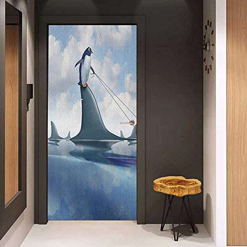 Onefzc Soliciting Sticker for Door Shark Fear Management Leadership Concept with A Penguin Holding Shark Humor Design Mural Wallpaper W17.1 x H78.7 Blue Grey Dust (Storage Atlanta Concepts)