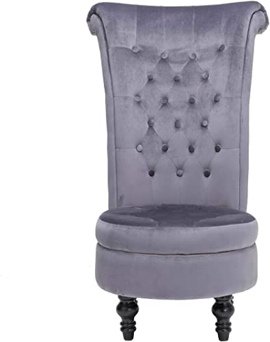 ZOYO Velvet Throne Chair Modern Velvet Tufted High Back Armless Chair Living Room Furniture Gray
