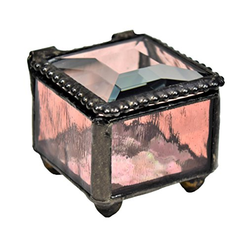 J Devlin Box 613 Mini Pink Rose Stained Glass Jewelry Keepsake Box Wedding Ring Box Decorative Trinket Box Ring Dish
