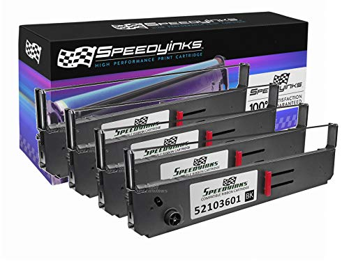 Speedy Inks Compatible Printer Ribbon Cartridge Replacement for Okidata 52103601 (Black, 4-Pack)