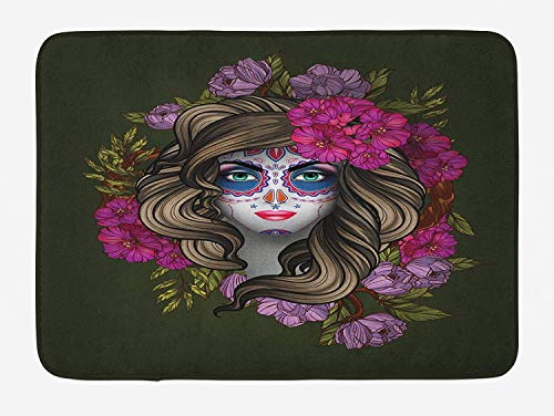 K0k2t0 Makeup Bath Mat, Calavera Day of The Dead Mexican Sugar Skull Faced Woman with Floral Head Halloween, Plush Bathroom Decor Mat with Non Slip Backing, 23.6 X 15.7 Inches, -