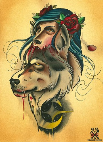 Wolf Pack by Charlie Coffin New Age Headdress Woman Tattoo Canvas Art - Womens Coffin Dress