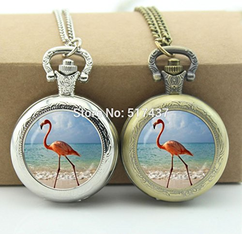 (Pretty Lee Flamingo Pocket Watch Glass Cabochon Locket Necklace Pocket Watch Necklace)