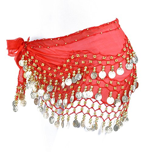 Lilyy Chiffon Dangling Gold Coins Belly Dance Hip Skirt Scarf Wrap Belt (H-Red, Gold -