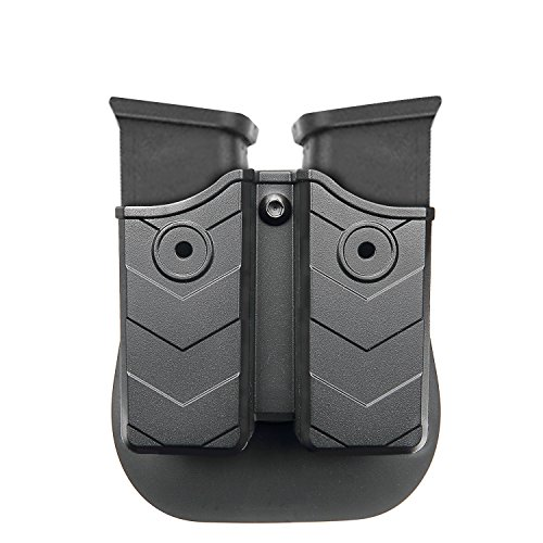 Pouch Double Stack - efluky Double Magazine Pouch - Magazine Holster, Double Stack Magazine Holder with Paddle for Glock/H&K/Smith & Wesson/Ruger/Sig Sauer/Springfield/Taurus/Beretta/CZ/Walther and More, Fits 9mm/.40 cal