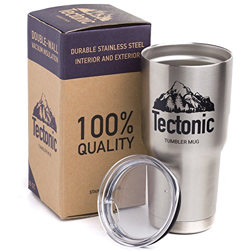 Tectonic Double Wall Vacuum Insulated Stainless Steel Tumbler with Lid, 30 Ounce