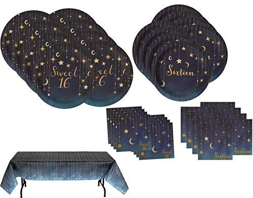 Starry Night Sweet 16 Party Bundle | Lunch and Dinner Plates, Lunch and Beverage Napkins, Starry Night Tablecover | Great for Sweet 16 Party -