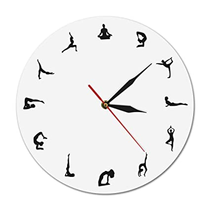 Amazon.com: ALEXTREME Reloj de pared, posturas de yoga ...