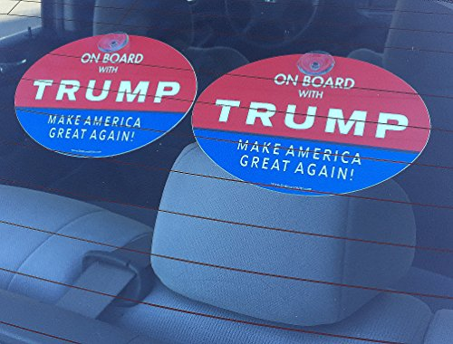 Quantity-2-PLASTIC-HANGING-SUCTION-CUP-SIGN-ON-BOARD-WITH-TRUMP-MAKE-AMERICA-GREAT-AGAIN-2016-President-Election-Political-GOP-Republican-4×6