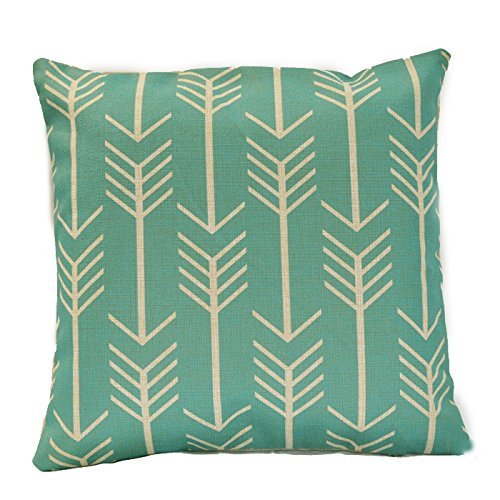 TAOSON Gorgeous Green Aqua & Beige Geometric Cotton Linen Throw Pillow Case Pillow Cover Decorative Cushion Cover Square 18x18 Inch (Gorgeous Decorative Acrylic)