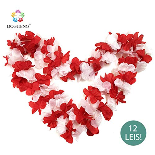 BOSHENG Red&White Flower Leis Necklaces for Summer Party Event,Set of -