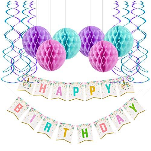 Fecedy Unicorn Rainbow Happy Birthday Banner Honeycomb Ball Streamers For Birthday party Decorations ()