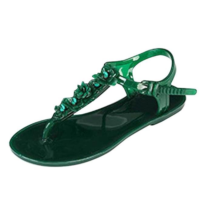 PLOT Damen Sandalen Sommer2018 Neu Blumen Einfarbig Flach Schuhe Sandals PVC Material Draussen Schuhe Zehentrenner