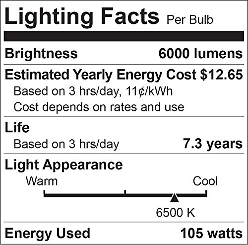 Luxrite LR20230 (6-Pack) 105-Watt High Wattage CFL Spiral Light Bulb, Equivalent To 400W Incandescent, Daylight 6500K, 6000 Lumens, E39 Mogul Base by LUXRITE (Image #1)