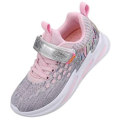 UOVO Girls Shoes Running Sneakers Little Kids Tennis Shoes Fashion Lightweight Athletic Shoes Mesh Walking School Sport Shoes(1 M US Little Kid,Grey Pink