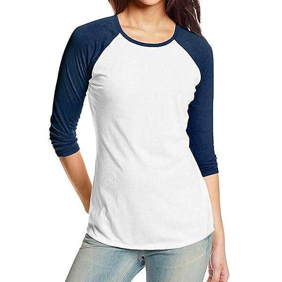 Kinlene Camiseta Personalizada Mujer,2018 Blusas para Mujer,Tops Largas de Béisbol de Moda