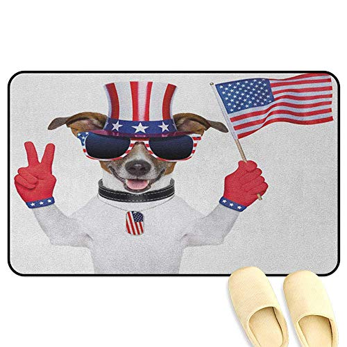(4th of July Office Comfort Standing Mat Funny Pet Dog with an Uncle Sam Hat Holding a Peace Sign and an American Flag Multicolor Indoor/Outdoor/Front Door/Bathroom Mats Rubber Non Slip W39 x L63 INCH)