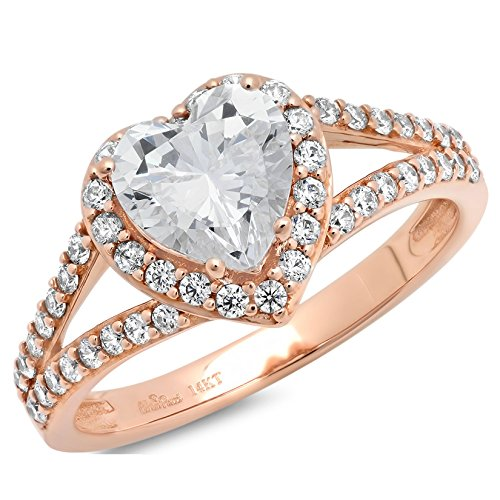1.95 Ct Heart Cut Pave Solitaire Bridal Anniversary Engagement Wedding Band Ring 14K Rose Gold, Size 10, Clara (Solitaire Wedding Pave Ring)