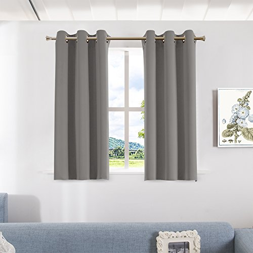 Drapery Panel Set - Bedroom Blackout Curtains and Drapes - Aquazolax Solid Thermal Insulated Grommet Blackout Drapery Panels for Window, Set of 2 Panels, W42 x L45 - Inch, Grey