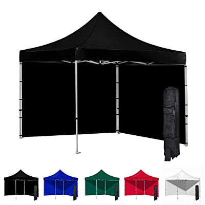 Vispronet 10x10 Instant Canopy Tent and 2 Side Walls – Commercial-Grade Aluminum Frame – Water Resistant Canopy Top and Sidewalls – Includes Canopy Bag and Stake Kit (Black) : Garden & Outdoor