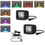 """Nicolight 3"""" Led work lights RGB color changing led cubes/pods with halo 1X pair"""
