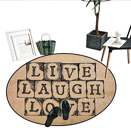 Live Laugh Love Bathroom Round Area Rug Carpet Black Alphabet Stamps on Aged Grungy Looking Backdrop Vintage Print Living Dining Room Bedroom Hallway Office Carpet (36