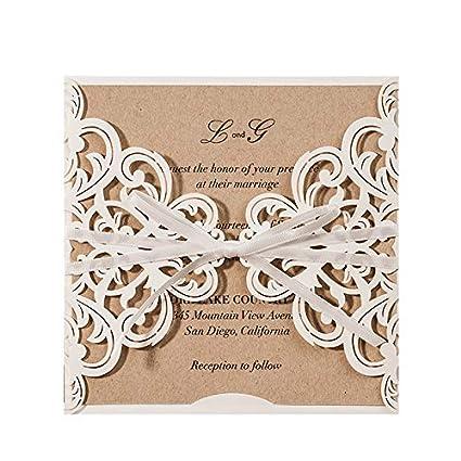 JOFANZA 20 x Kits de tarjetas de Invitaciones de boda,cuadradas,rústicas y blancas